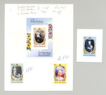 Antigua #867-870 Queen Mother 3v & 1v S/S Mounted On 2v Cards With Notes - Antigua And Barbuda (1981-...)