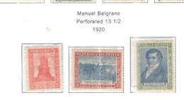 Argentina PO 1920 Belgrano   Scott.280/282+See Scans On Scott.Page - Nuovi
