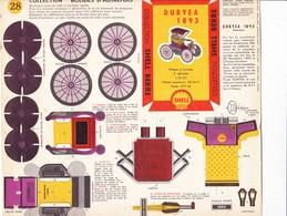 Planche De Montage Découpage Pliage Collage Automobile DURYEA 1893 Publicité SHELL - Otras Colecciones