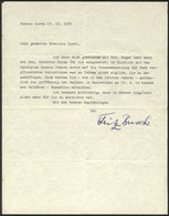 67 GERMANY: BUSCH, FRITZ: German Pianist And Conductor, Letter Written In Buenos Aires O - Autographs