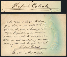 571 ARGENTINA: CALZADA Rafael, Attorney And Legal Theorist, His Autograph And Poem On Pos - Autographs
