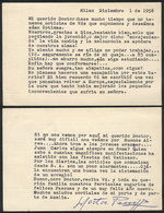608 ARGENTINA: PANIZZA Hector: Composer And Conductor, Letter Written In 1958 In Milano T - Autographs