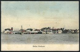 678 BELIZE: Belize Harbour, Dated 1908, Light Staining On Front Else VF! - Belize