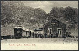 749 CHILE: Uspallata Railway Station, Train, Andes Mountains, Ed.Eggers, Circa 1905, Very - Chile