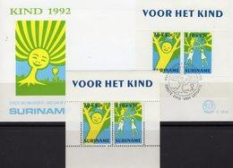 Gemälde Jugend-Set 1992 Surinam Block 59 **/FDC 14€ Kinder/Bäume Hb Ss Blocs Art M/s Painting Cover Sheets Bf Youth - Surinam