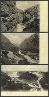 766 CHILE: 3 Old PCs With Various Views Of Waterfalls: Rio Blanco, Laja, And Soldado, Cir - Chile