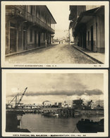 789 COLOMBIA: BUENAVENTURA: Malecón And A Street View, 2 Old Postcards Of MF Quality! - Colombia