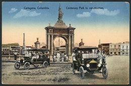 791 COLOMBIA: CARTAGENA: Centenario Park Under Construction, Vintage Cars, Ed. Mogollón & - Colombia