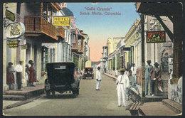 800 COLOMBIA: SANTA MARTA: Grande Street, Hotel, Cafe Inglés And Shoe Store, Ed.Bockelman - Colombia
