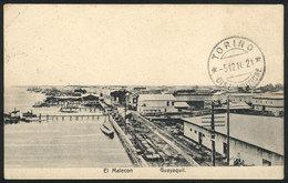 846 ECUADOR: GUAYAQUIL: Malecón, Esplanade, Dated 1910, With Corner Fold, VF Appearance. - Ecuador