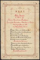 861 EGYPT: Dinner Menu Of Banquet In Honor Of Ernst Von Freskano, German Consul In Cairo, - Programs