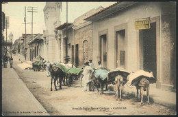 1670 VENEZUELA: CARACAS: South Avenue And Banco Caracas Bank, Loaded Mules, VF Quality! - Venezuela
