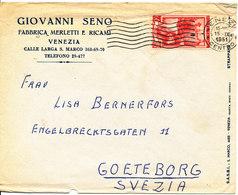 Italy Cover Sent To Sweden Venezia 15-9-1951 - 1946-60: Marcophilia