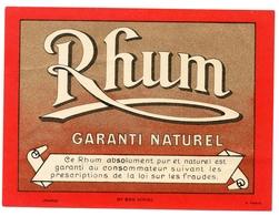 Etiquette Rhum Garanti Naturel - Etiquettes