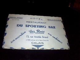 Publicité  Ancienne Carte De Visite Carton Hotel Restaurant  Du Sporting Bar Chrz René  A Calais - Cartoncini Da Visita
