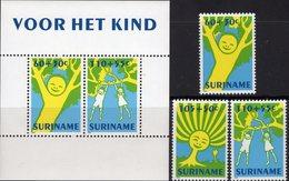 Kinder-Gemälde Jugend-Set 1992 Surinam 1426/8+Block 59 ** 12€ Baum Hb Ss Bloc Art M/s Painting Cover Sheet Bf Youth - Puppen