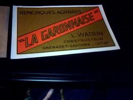 Publicité  Ancienne Carte De Visite Watrin Remorques Agraires A Grenade Sur Garonne - Cartoncini Da Visita