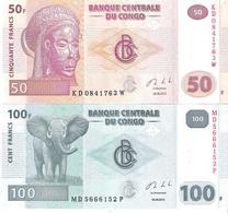Congo - Pick 97A, 98b - 50, 100 Francs 2013 - Unc - Set 2 Banknotes - Congo