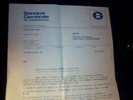 Facture Lettre A Entete  Banque Generale Du Luxembourg  Annee  1975  A---uxembourg - Luxembourg