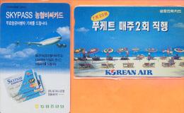 Korea South - Two Cards, Airplane, Aviation, Skypass & Korean Air, Used - Korea, South