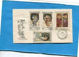 """TCHECOSLOVAQUIE-1969-ENVELOPPE FDC-""""MUCHA""""N°1734 +1731-33 Ajouté En Souvenir = Série Complète - Lettres & Documents"""