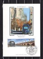 """"""" TRAM DE BORDEAUX """" Sur Carte Maximum En Soie De 2004 N° YT 3661 . Parfait état. CM - Tramways"""