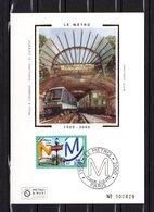 """"""" 100 ANS DU METRO / TRAMWAY """" Sur Carte Maximum En Soie . N° YT 3292. Parfait état. CM - Tramways"""