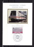 """"""" TRANSPORTS URBAINS DE DEMAIN / EUROPA / TRAMWAY """" Sur Carte Maximum En Soie De 1988 . N° YT 2532. Parfait état. CM - Tramways"""