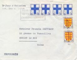 France 1958 FDC City Arms 4 X 50 C. Marseille + 2 X 2 Fr. Angoumois - Buste
