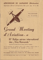Aviation - Programme Meeting Lausanne-Blécherette - 1946 - Programmes