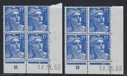 15F Gandon N°886 Coin Daté Paire Complète 18.11.53 Presse 8 - Dated Corners