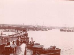 Angleterre Portsmouth Le Port Bateaux Ancienne Photo Amateur 1900 - Boats
