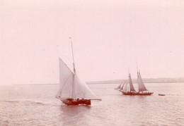 Voiliers Entre L'Angleterre Et L'Ile De Wight Ancienne Photo Amateur 1900 - Boats