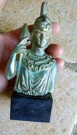 ATHENA - BUSTE MINIATURE En RESINE 14cm - Couleur Patine Bronze Sur Socle Marbre Noir - - Sculptures
