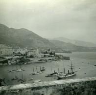 Monaco Panorama Bateaux Ancienne Photo Stereo Amateur Possemiers 1900 - Stereoscopic