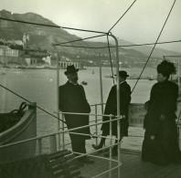 Dans La Rade De Monaco Ancienne Photo Stereo Amateur Possemiers 1900 - Stereoscopic