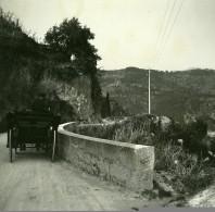France Route D'Eze Grande Corniche Ancienne Photo Stereo Amateur Possemiers 1900 - Stereoscopic