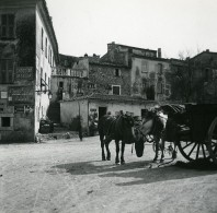 France La Turbie Place Chevaux Ancienne Photo Stereo Amateur Possemiers 1900 - Stereoscopic