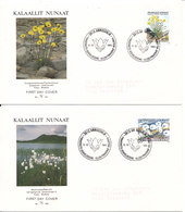 Greenland FDC Flowers 12-10-1989 Complete On 2 Covers With Nice Cachet Sent To Denmark - FDC
