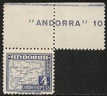 1953-ANDORRA-ED. 56 EN PAREJA CON BORDE DE HOJA- 4Pts. TIPOS DIVERSOS. MAPA DEL PRINCIPADO- NUEVO SIN FIJASELLOS- - Spanisch Andorra