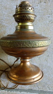 CUIVRE VILLEDIEU GAOR 50 FRANCE Modèle Déposé - Vieille Lampe à Pétrole électrifiée Dans Son Jus  - 24cm - Frise Deco - Cuivres