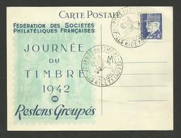 """AUBE - Carte """" Journée Du Timbre 1942 """" LES RICEYS / N° 522 Pétain - Covers & Documents"""