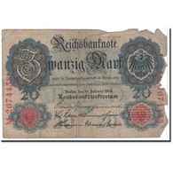 Billet, Allemagne, 20 Mark, 1914, 1914-02-19, KM:46b, B - [ 2] 1871-1918 : German Empire