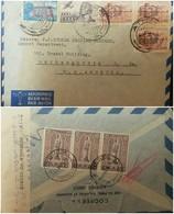 O) 1949 GREECE, AIRMAIL. ASPROPOTAMOS RIVER OVERPRINTED 100D-SCOTT A105, ALLEGORY OF FLIGHT SCOTT A123 -1000D, BOURTZI F - Greece