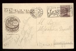 CARTOLINA DI VERONA DEL 1927 CON PUBBLIVITA' PASTIGLIE VALDA E BEL TIMBRO A TARGHETTA DI SALSOMAGGIORE. - Pubblicitari