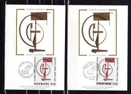 """"""" FRANCE - DANEMARK 1988 : SCULPTURE DE R. JACOBSEN """" Sur 2 Cartes Maximum En Soie. N°YT 2551+ DAN. 931. Parf état. CM - Emissions Communes"""