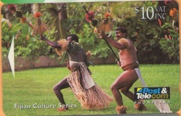 Fiji - FIJ-039, GPT, Fijian Warriors Performing Spear Dance, 10$, 20.000ex, 1994, Used - Fiji