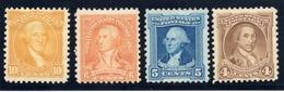 U.S.A. / 1932 / #709, 710, 711, 715 / Mint Never Hinged - United States