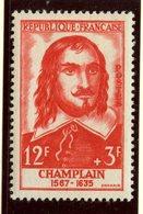 France 1956 12 + 3f  Champlain Issue  #B305 - France