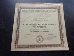 Téléphones ERICSSON (1934) Colombes - Shareholdings